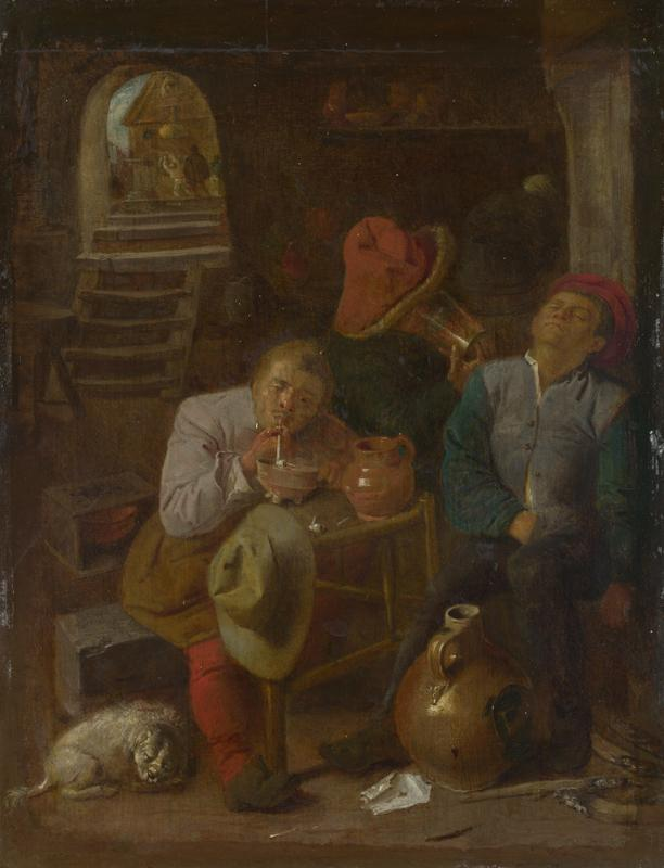 Style of Adriaen Brouwer - Four Peasants in a Cellar