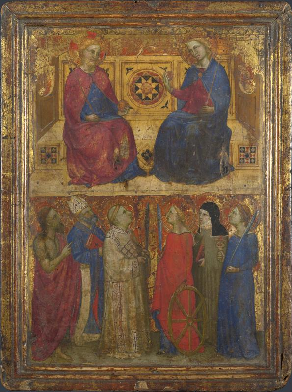Style of Giovanni da Milano - Christ and the Virgin with Saints