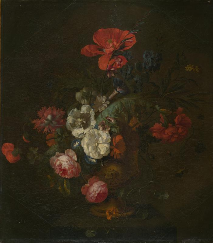 Style of Jan van Huysum - Flowers in a Stone Vase