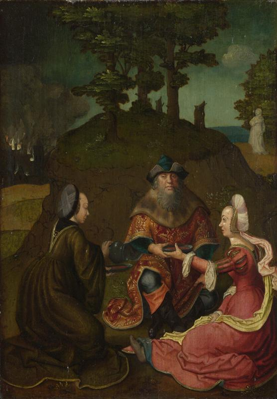 Style of Lucas van Leyden - Lot Daughters make their Father drink Wine