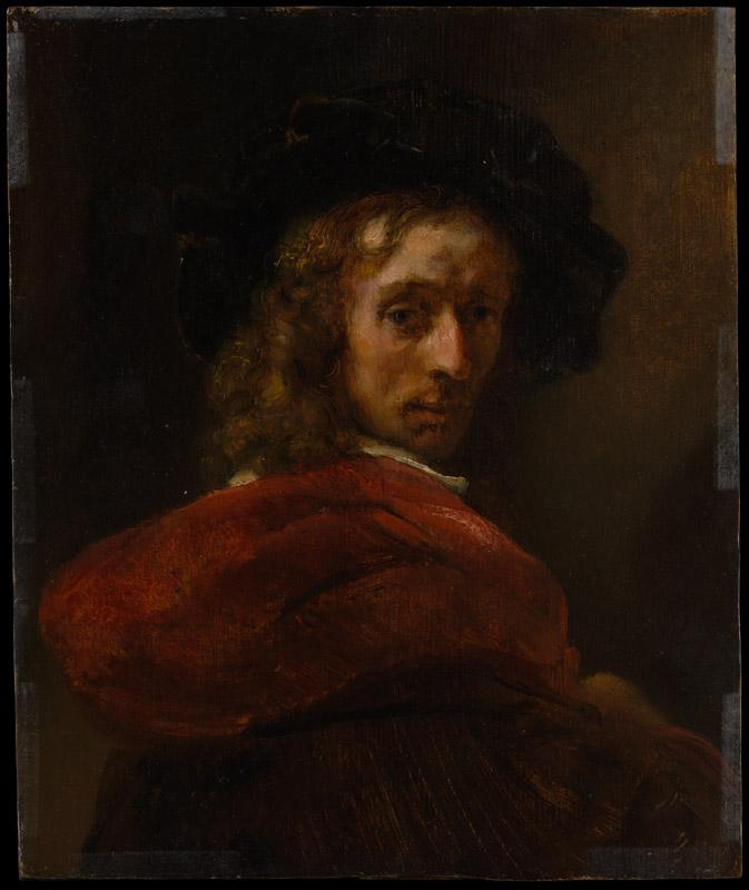 Style of Rembrandt--Man in a Red Cloak