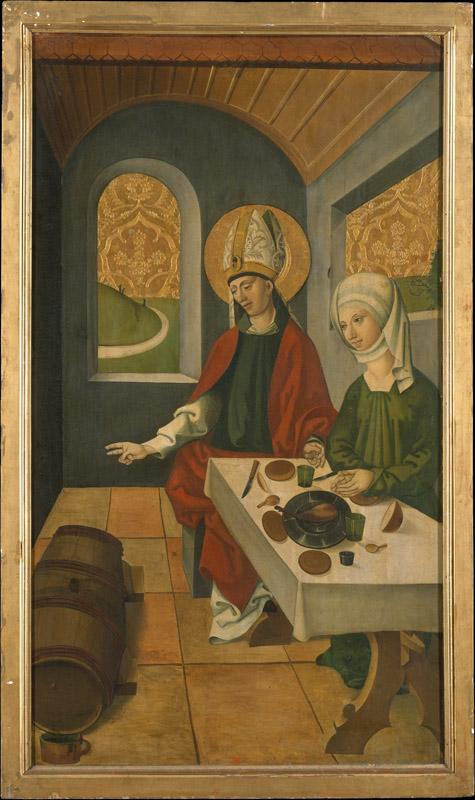Swiss Painter--Saint Remigius Replenishing the Barrel of Wine (reverse) Saint Remigius and the Burning Wheat