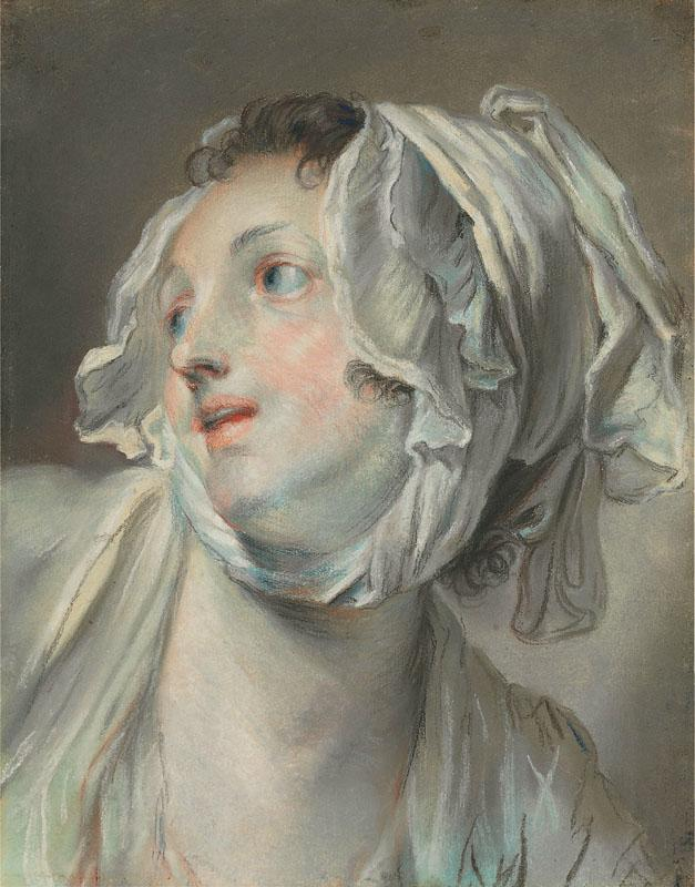 THE HEAD OF A YOUNG WOMAN WEARING A BONNET AND FACING LEFT