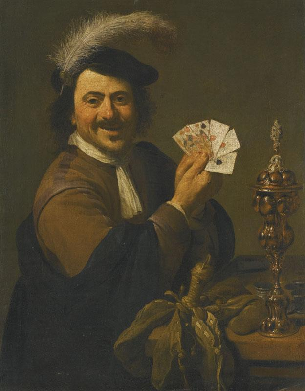 THEODOOR ROMBOUTS-A CARD PLAYER SHOWING HIS HAND