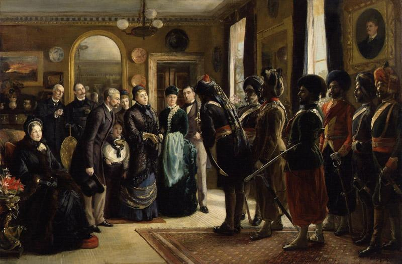 The Duke and Duchess of Teck receiving officers of the Indian Contingent, 1882 by Sydney Prior Hall