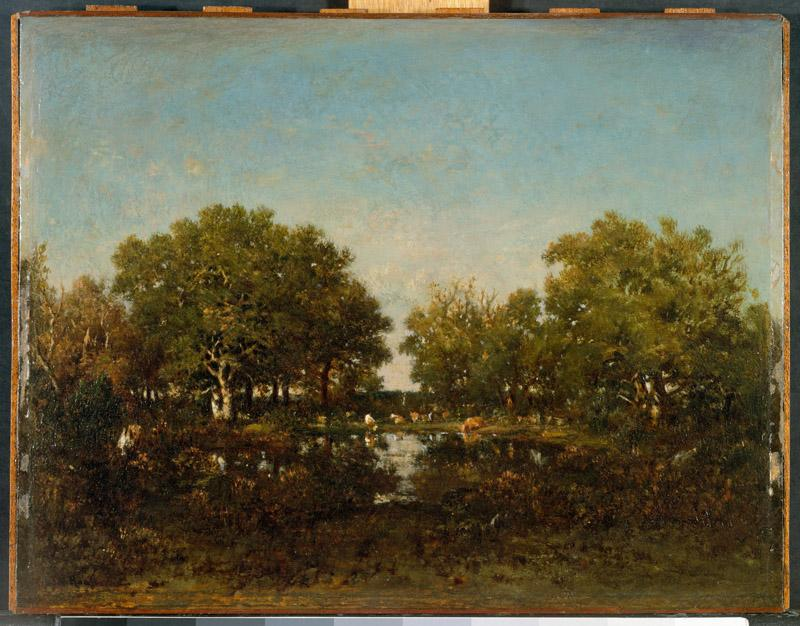 Theodore Rousseau--The Pool (Memory of the Forest of Chambord)