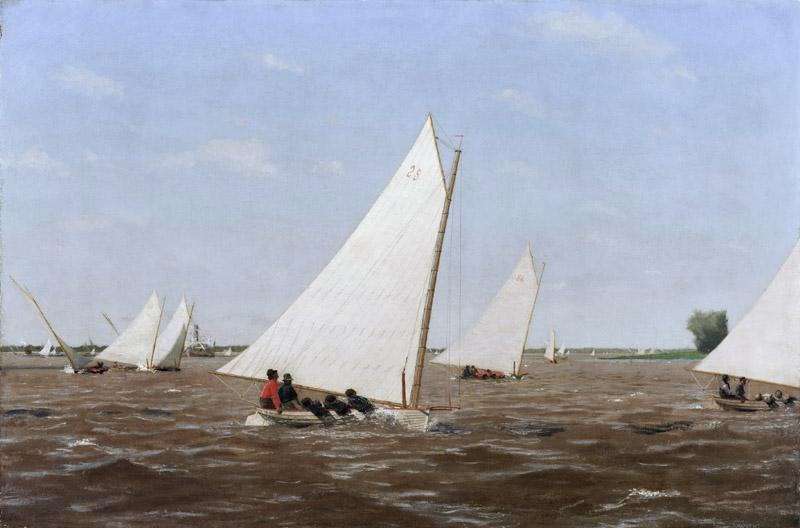 Thomas Eakins, American, 1844-1916 -- Sailboats Racing on the Delaware