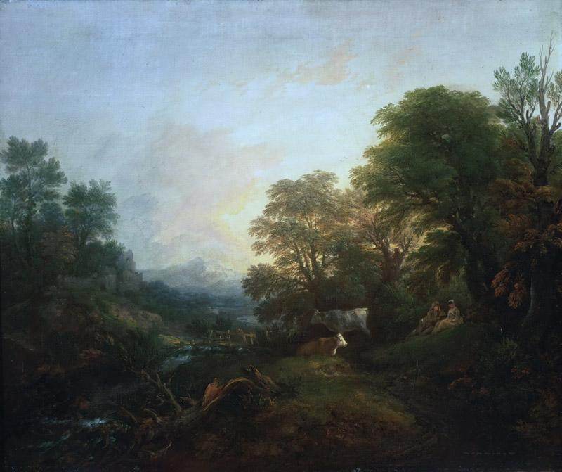 Thomas Gainsborough, English, 1727-1788 -- Landscape with Rustic Lovers, Two Cows, and a Man on a Distant Bridge