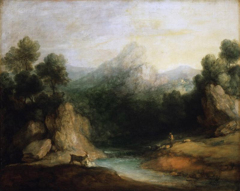 Thomas Gainsborough, English, 1727-1788 -- Pastoral Landscape (Rocky Mountain Valley with a Shepherd, Sheep, and Goats)