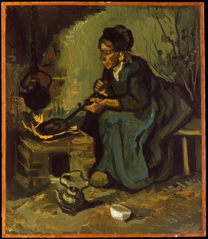 Vincent van Gogh--Peasant Woman Cooking by a Fireplace