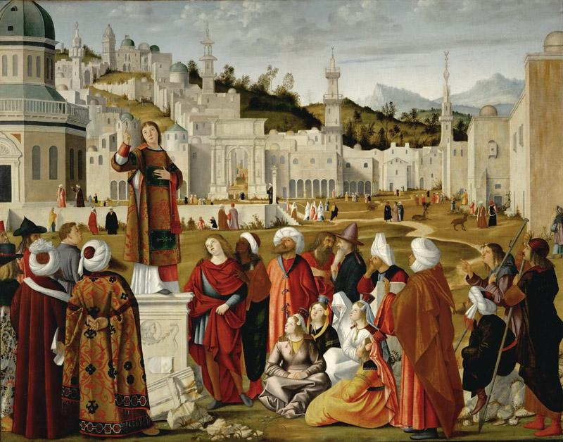 Vittore Carpaccio (1460-1526) -- Sermon of Saint Stephen Outside the Walls of Jerusalem