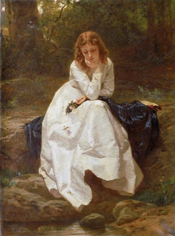 Wilhelm Amberg, German, 1822-1899 -- Young Woman Seated by a Stream