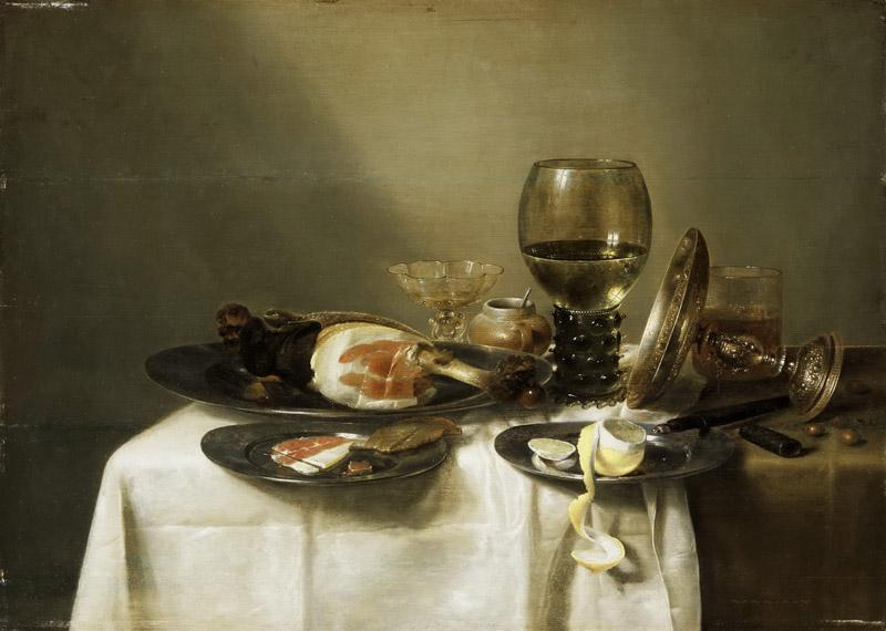 Willem Claesz. Heda, Dutch (active Haarlem), 1594-1680-82 -- Still Life with a Ham and a Roemer
