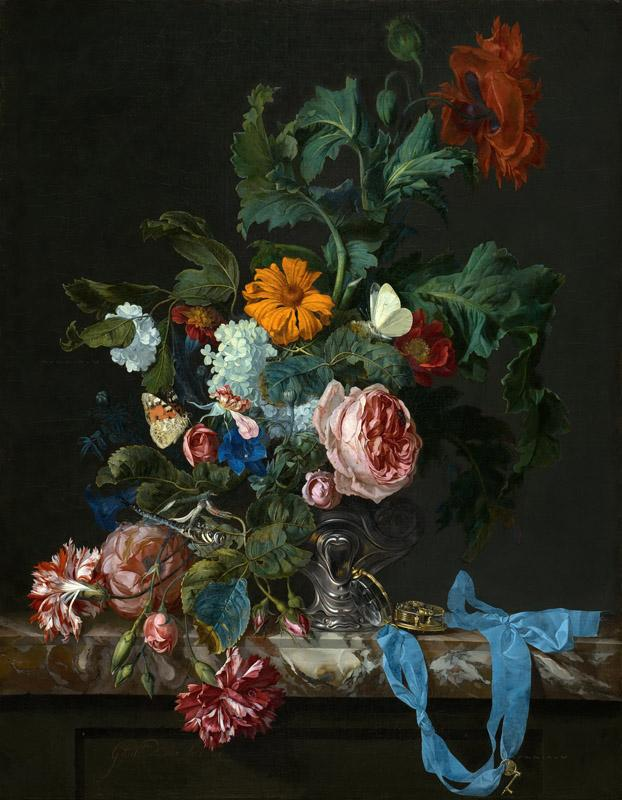 Willem van Aelst - Flower Still Life with a Timepiece