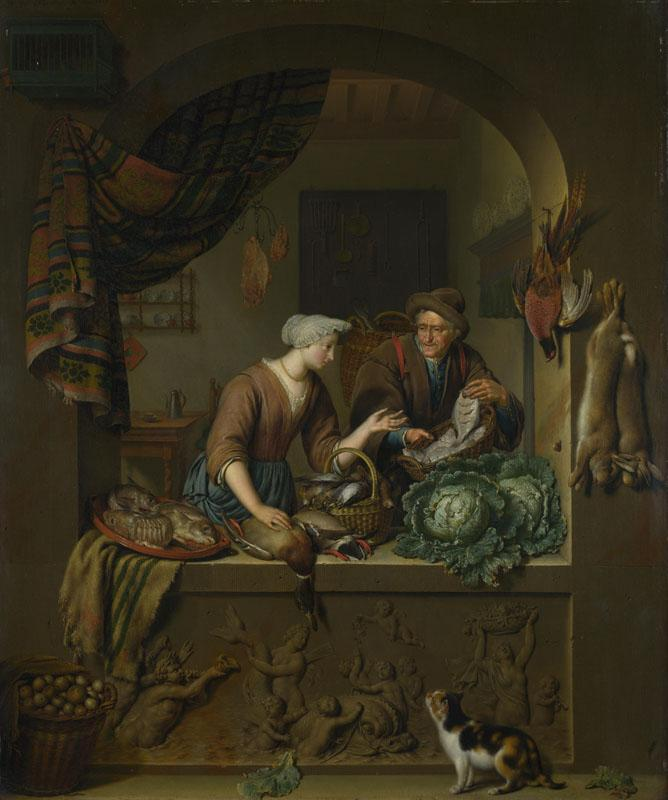 Willem van Mieris - A Woman and a Fish-pedlar in a Kitchen
