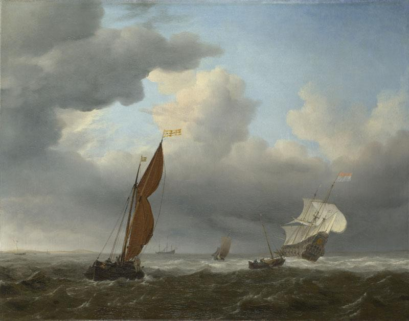 Willem van de Velde - A Dutch Ship and Other Small Vessels in a Strong Breeze