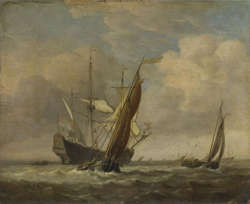 Willem van de Velde - Two Small Vessels and a Dutch Man-of-War in a Breeze
