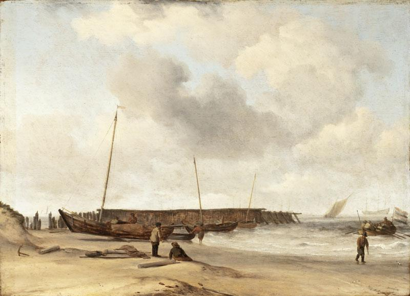 Willem van de Velde the Younger - Beach with a Weyschuit Pulled up on Shore