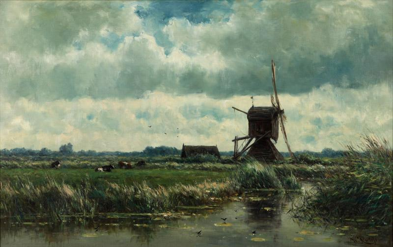 Willem Roelofs - Polder landscape with windmill near Abcoude