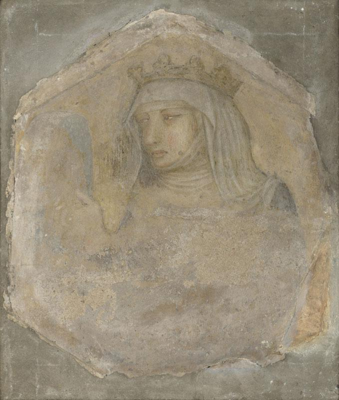 Workshop of Pietro Lorenzetti - A Crowned Female Figure (Saint Elizabeth of Hungary)