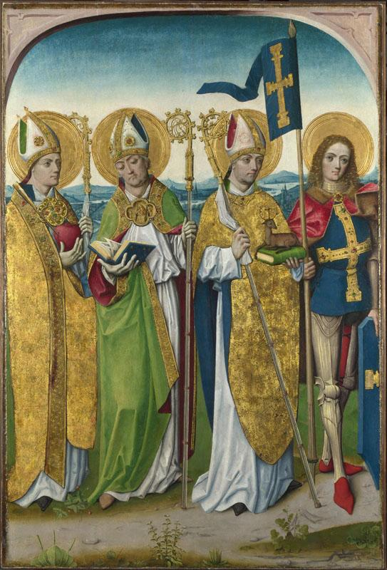 Workshop of the Master of the Life of the Virgin - Saints Augustine, Hubert, Ludger and Gereon