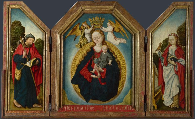 Workshop of the Master of the Saint Bartholomew Altarpiece - The Virgin and Child in Glory with 2