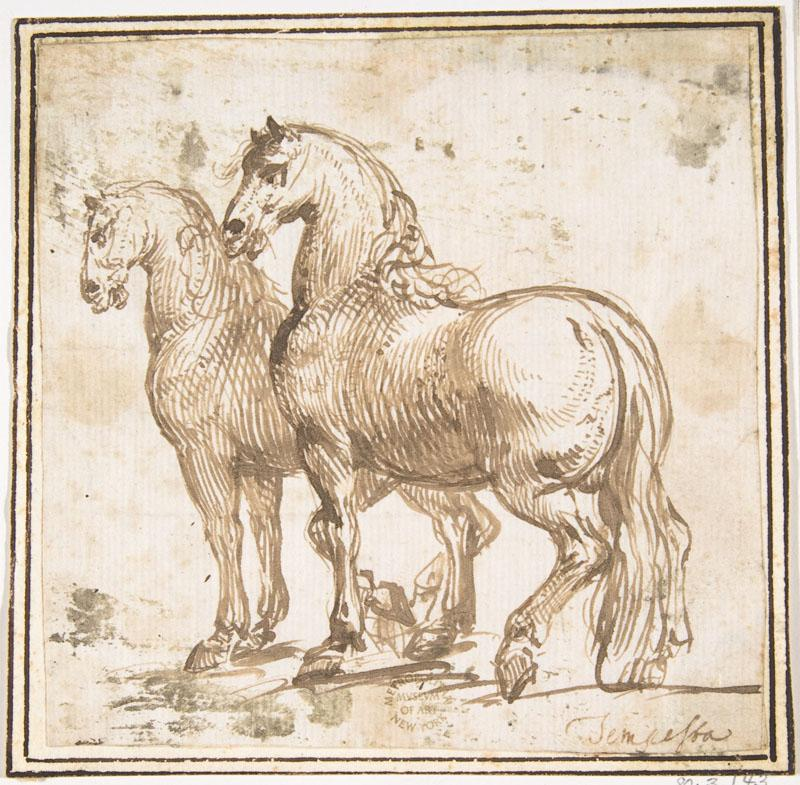 attributed to Francesco Allegrini--Two Horses
