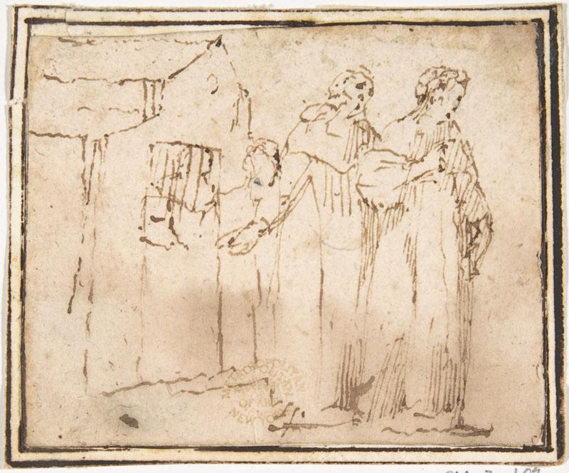 attributed to Francesco Allegrini--Two Monastic Figures Standing before a Church