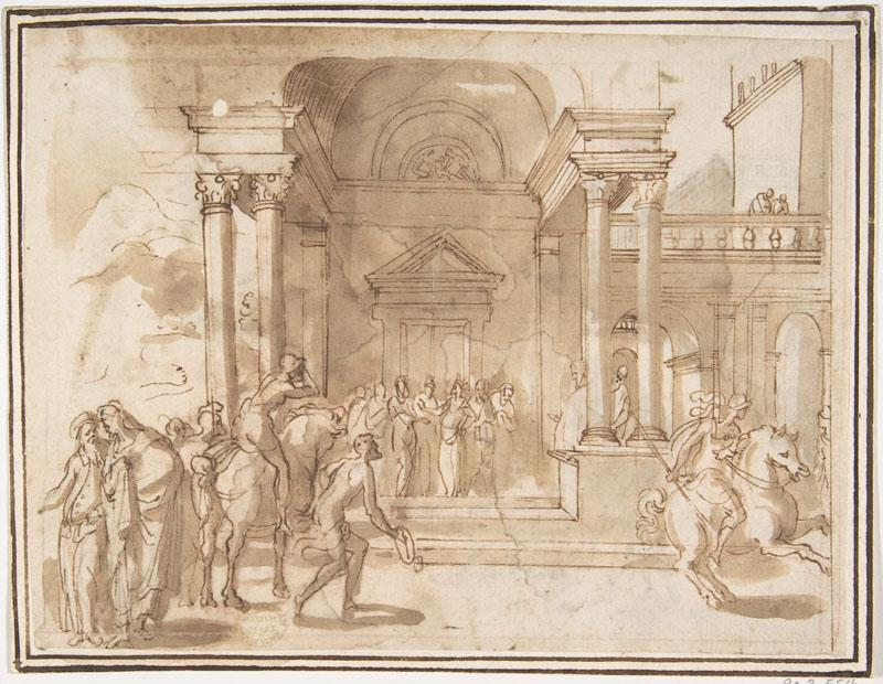 attributed to Francesco Allegrini--Unidentified Subject Figures before a Palace or Temple