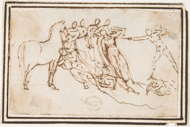 attributed to Francesco Allegrini--Unidentified Subject Nine Figures and a Horse