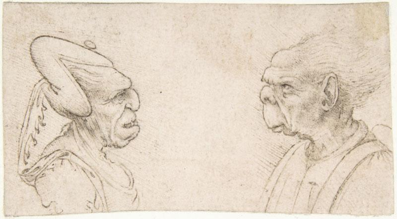 attributed to Francesco Melzi--Two Grotesque Heads Old Woman