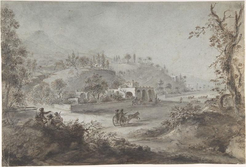 attributed to Giuseppe Zocchi--Landscape Prospect with a Buggy and a Herd of Goats
